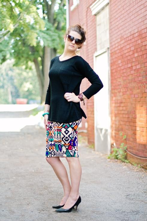 wear it pair it the geometric pencil skirt trend