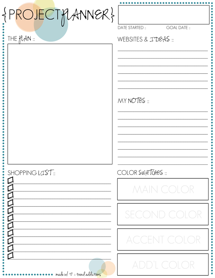 monthly freebie :: project planner printable | Trend ...